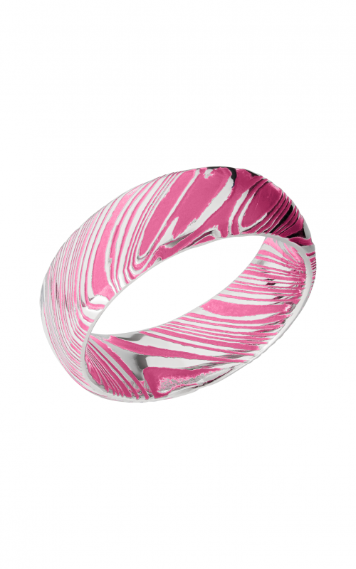 Lashbrook Damascus Steel Wedding band D8DWOODGRAIN_PRISONPINKALL product image