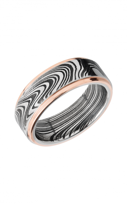 Lashbrook Damascus Steel Wedding band D8FGE21EDGEMARBLE_14KR product image