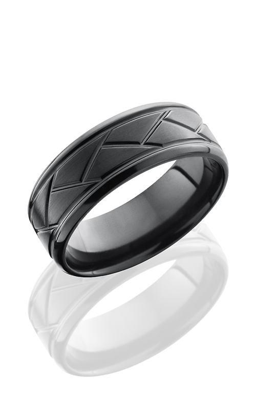 Lashbrook Zirconium Wedding band Z8BFLATWEAVE SATIN-POLISH product image