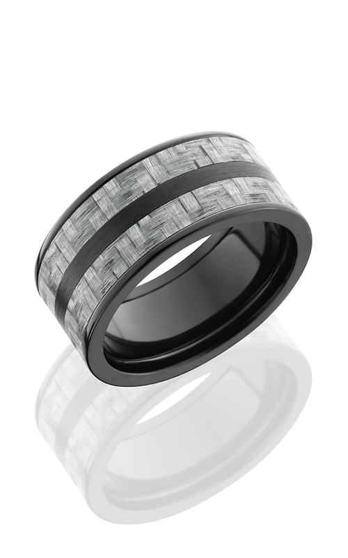 Lashbrook Carbon Fiber Wedding band ZC10F23 SILVERCF SATIN POLISH product image