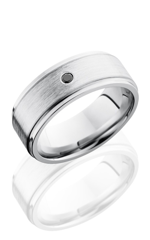 Lashbrook Cobalt Chrome Wedding band CC8FGE15-SSBLKDIA.03F SATIN product image