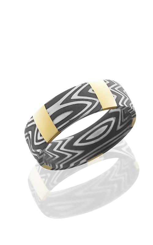 Lashbrook Damascus Steel Wedding band D7D14VERTICALX5ZEBRA 14KY ACID product image