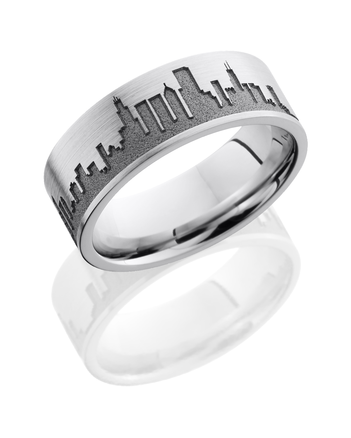 Lashbrook Cobalt Chrome Wedding band CC8F LCVCHICAGOSKYLINE product image