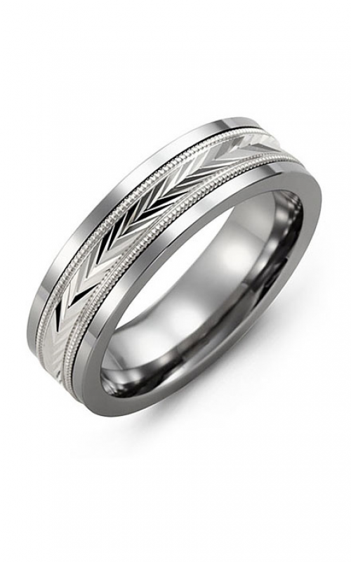 Madani Alternative Metal And Gold Wedding band MBJ714BW product image