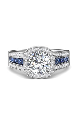 Martin Flyer Channel & Shared Prong Engagement Ring DERMH63RDCUAQ-F-7.5RD product image