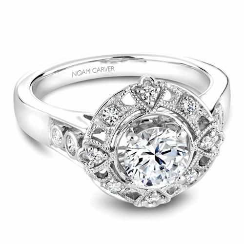 Noam Carver Halo Engagement Ring B073-01WM product image