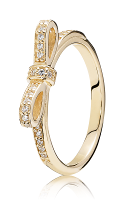 PANDORA Sparkling Bow Stackable Ring, Clear CZ & 14K Gold 150175CZ-54 (Retired) product image