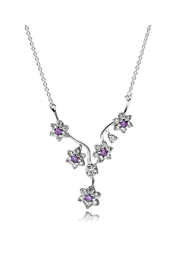 Pandora Forget Me Not, Purple & Clear CZ Necklace 590519ACZ-45 product image