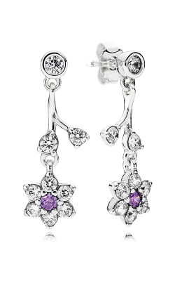 PANDORA Forget Me Not, Purple & Clear CZ Earrings 290691ACZ (Retired) product image