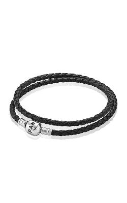 PANDORA Black Braided Double-Leather Charm Bracelet 590705CBK-D3 (Retired) product image