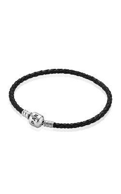 PANDORA Black Braided Leather Charm Bracelet 590705CBK-S3 product image
