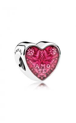 Pandora Latin Love Heart Charm Transparent Cerise Enamel 792048EN117 product image