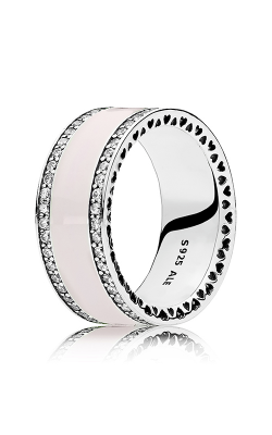 PANDORA Hearts Soft Pink Enamel & Clear CZ Ring 191024EN40-48 product image