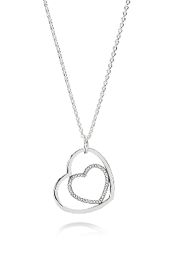 PANDORA Heart to Heart Clear CZ Pendant 390364CZ-90 product image