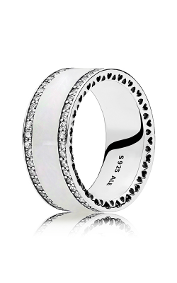 PANDORA Hearts Silver Enamel & Clear CZ Ring 191024EN23-62 product image