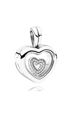 PANDORA Mother's Day PANDORA Floating Heart Locket, Sapphire Crystal Glass & Clear CZ Pendant 792111CZ product image