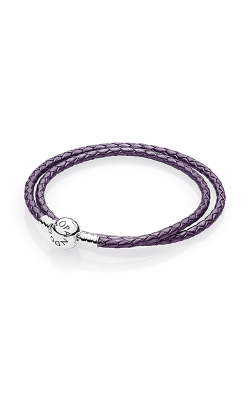 PANDORA Mother's Day Purple Braided Double-Leather Charm Bracelet 590745CPE-D1 product image