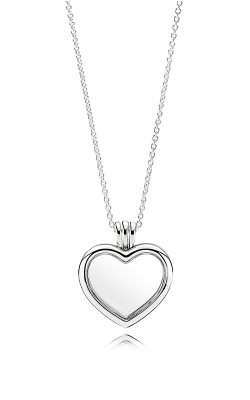 PANDORA Mother's Day PANDORA Floating Heart Locket, Sapphire Crystal Glass & Clear CZ Necklace 590544-60 product image