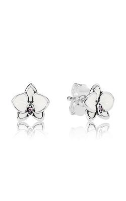 PANDORA Orchid White Enamel & Clear CZ Earrings 290749EN12 (Retired) product image
