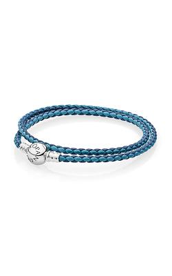 PANDORA Mixed Blue Woven Double-Leather Charm Bracelet 590747CBMX-D2 product image