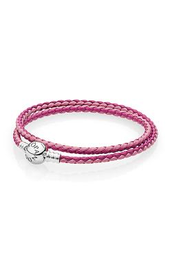PANDORA Mixed Pink Woven Double-Leather Charm Bracelet 590747CPMX-D3 product image