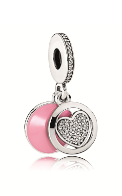 Pandora Devoted Heart Dangle Charm Pink Enamel & Clear CZ 792149EN24 product image