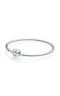 PANDORA Moments Silver Bangle Bracelet Logo Heart Clasp 596268-19 product image