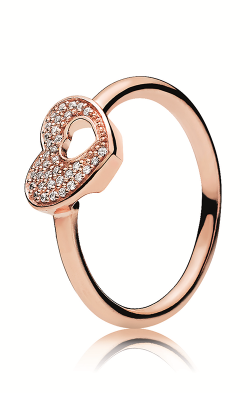 PANDORA Rose™ & Clear CZ, Shimmering Puzzle Heart Frame Ring 186550CZ-50 product image