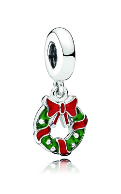Pandora Holiday Wreath Dangle Charm, Berry Red & Green Enamel 796362ENMX product image