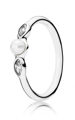 PANDORA Petite Luminous Leaves Ring White Pearl & Clear CZ 190964P-48 (Retired) product image