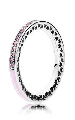 PANDORA Light Pink Enamel & Clear CZ Radiant Hearts Ring 191011PCZ-48 (Retired) product image