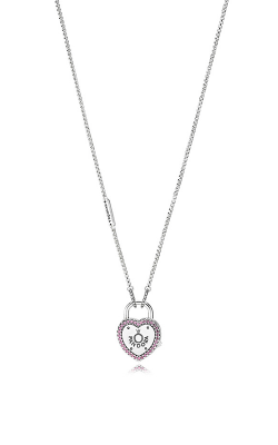 PANDORA Lock Your Promise Necklace Fancy Fuchsia Pink CZ 396583FPC-60 product image