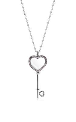 PANDORA Large Floating Locket Heart Key Sapphire Crystal & Fancy Fuchsia Pink CZ 396584FPC-80 product image