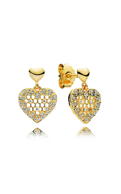 PANDORA Shine™ & Clear CZ Honeycomb Lace Dangle Earrings 267068CZ product image