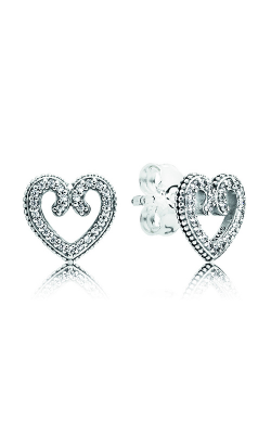 Pandora Heart Swirls Stud Earrings, Clear CZ 297099CZ product image