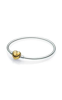 PANDORA Shine™ Logo Heart Clasp Moments Silver Bangle Bracelet 567163-19 product image