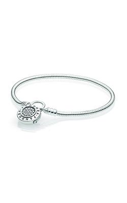 PANDORA Signature Padlock Clasp, Clear CZ Sterling Silver Smooth Bracelet 597092CZ-18 product image