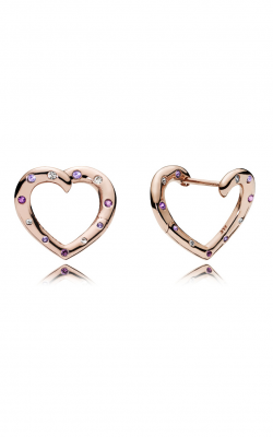 PANDORA ROSE™, Royal Purple & Lilac Crystals & Clear CZ, Bright Hearts Hoop Earrings 287231NRPMX product image