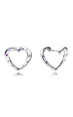 Bright Hearts Hoop Earrings, Royal Purple & Lilac Crystals & Clear CZ 297231NRPMX product image