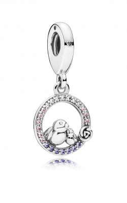 Mother & Baby Bird Dangle Charm, Soft Pink & Lilac Crystals & Clear CZ 797060NPRMX product image