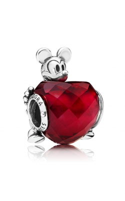 Disney, Mickey Love Heart Charm, Fuchsia Rose Crystal 797168NFR product image