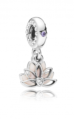 Serene Lotus Flower Dangle Charm, Pink Enamel, Lilac Crystal & Clear CZ 797259CZ product image