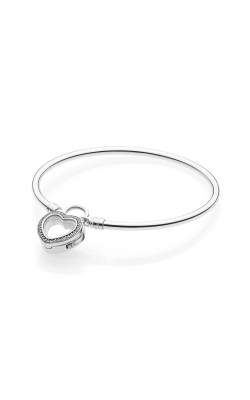 Silver Bangle Bracelet with Floating Heart Locket Clasp, Clear CZ 597253CZ-21 product image