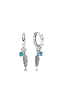 PANDORA Spiritual Feathers Dangle Earrings, Turquoise Enamel 297205EN168 product image