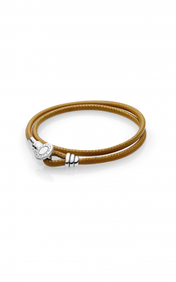 Pandora Golden Tan Double Leather Bracelet, Clear CZ 597194CGT-D1 product image