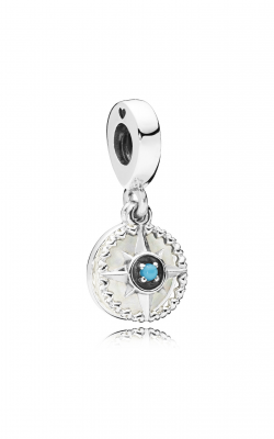 Pandora Compass Rose Dangle Charm, Silver Enamel & Cyan Blue Crystal 797196EN23 product image