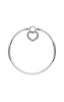 Silver Bangle Bracelet With Floating Heart Locket Clasp Clear CZ 597253CZ-17 product image