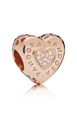 Pandora Signature Heart Charm Pandora Rose™ & Clear CZ 787375CZ product image