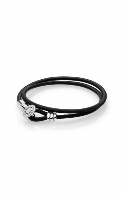 PANDORA Black Double Leather Bracelet, Clear CZ 597194CBK-D1 product image