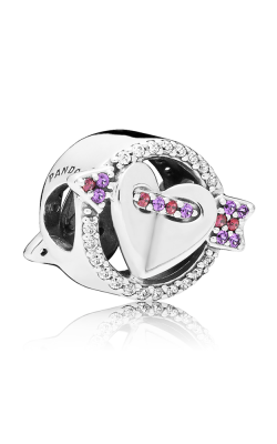 Pandora Sparkling Arrow & Heart Charm  Red & Clear CZ Royal Purple Crystals 797827CZMX product image